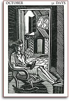 'October' from Almanack 1929: with Twelve Designs Engraved on Wood, 1929 by Eric Ravilious (Britain, 1903-1942)
