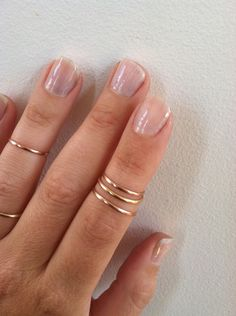 3 Layering 14K Pink Gold Filled Knuckle Rings- 1mm- any size. $36.00, via Etsy.