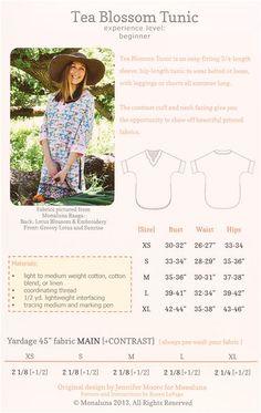 monaluna tunic top sewing pattern Tea Blossom Tunic - Sewing Patterns - Fabric - kawaii shop modeS4u