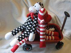 Personalized Sock Monkey Black White Polka Dots. Limited Edition.