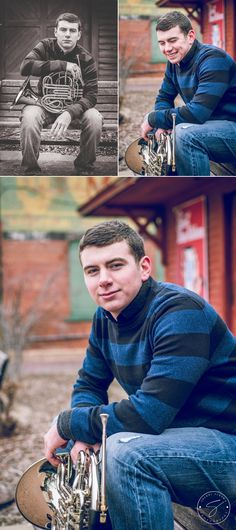 Senior boy sitting on bench in front of building with french horn instrument in Old Town, Wichita, KS Senior Boy Photography, Musician Photography, School Photography, Headshot Photography, Photography Projects, Band Senior Pictures, Senior Photos, Senior Portraits, Senior Boy Poses