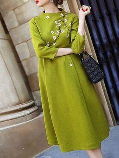 StyleWe - Floral Long Sleeve Wool Blend Midi