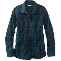 L.L.Bean Scotch Plaid Shirt, Relaxed ($55) ❤ liked on Polyvore featuring plus size women's fashion, plus size clothing, plus size tops, relaxed fit tops, plaid shirts, blue shirt, blue top and shirt top