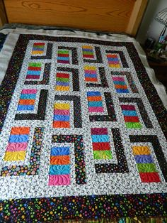 This is the second Urban Cabin quilt I quilted for my client, she is giving them to two girls who have changed their lives for the better. Batik Quilts, Lap Quilts, Strip Quilts, Scrappy Quilts, Jellyroll Quilts, Quilt Blocks, Modern Quilt Patterns, Quilt Patterns Free, Quilting Projects