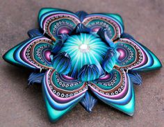 Blue and Green Polymer Clay Petal Cane 'Mortal by ikandiclay