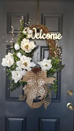 Signature Magnolia Wreath, Spring Magnolia Wreath Magnolia wreaths are one of the most beautiful foliage in nature. This elegant magnolia wreath incorporates large, realistic, artificial magnolia flowers and leaves on a grapevine oval base. A tasteful and Spring Front Door Wreaths, Diy Spring Wreath, Fall Wreaths, Easter Wreaths, Mesh Wreaths, Floral Wreaths, Burlap Wreaths, Burlap Flowers, Spring Door