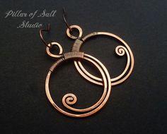 Wire wrapped earrings / Solid copper earrings / wire wrapped jewelry handmade / wire jewelry / copper jewelry earthy boho by PillarOfSaltStudio on Etsy https://www.etsy.com/listing/222274041/wire-wrapped-earrings-solid-copper