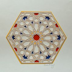 "2010. Ruth Mergi. Six layers hand-cut paper. Image from ""Islamic Geometric Patterns,"" Eric Broug, 2008. Papercut of Pattern from Qarawiyyin Mosque, Morocco"