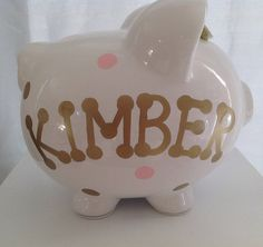 Personalized Large Piggy Bank Polka Dots and chevron pink