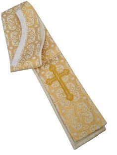 Estola litúrgica fabricada en brocado oro y crema / Cream and gold brocade liturgical stole with Crosses embroidery. http://www.articulosreligiososbrabander.es/vestimenta-sacerdotal-estola-liturgica-brocado-oro-crema.html