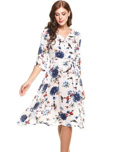 Yellow Casual V-Neck 3/4 Sleeve Prints A-Line Pleated Dress with Belt