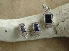 Iolite (sea sapphire) Sterling Silver Pendant and Earrings