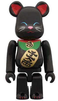招き猫 黒 100%