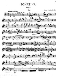 Sonatina, Op.100 (Dvořák, Antonín) - IMSLP/Petrucci Music Library: Free Public Domain Sheet Music Sheet Music Store, Free Violin Sheet Music, Violin Music, Music Sheets, Guitar Chords For Songs, Music Chords, Music Love, Good Music, Trumpet Music
