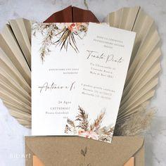2,40 EURO CAD - partecipazione nozze boho pampas 50 pezzi Boho, Wedding Invitations, Gift Wrapping, Gifts, Etsy, Gift Wrapping Paper, Presents, Wrapping Gifts, Bohemian