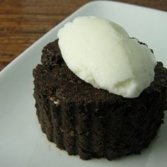 chocolate valentino cake with a tipple of absinthe ice cream