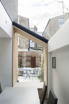 This scheme consists of a contemporary oak lined side-return extension to a Victorian terraced house in North Kensington, alongside refurbishment works carried out throughout the rest of the home for a couple and their teenage son.The small extension comp House Extension Design, Extension Designs, House Design, Extension Ideas, Patio Design, Architecture Design, Architecture Definition, Security Architecture, Wooden Architecture