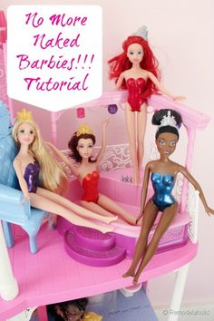 Barbie swimsuits with Nail Polish... Because it drives me CRAZY that they never have clothes on!!