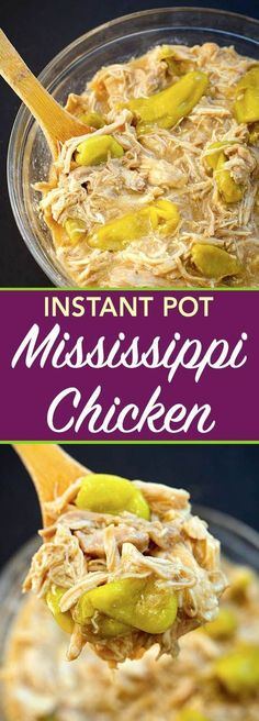 Instant Pot Mississippi Chicken is so good! Tons of flavor and super easy to make. Great for Game Day, or feeding a crowd. simplyhappyfoodie.com #instantpotrecipes #instantpotmississippichicken #flavoeexplosionchicken #pressurecookermississippichicken #instantpotchicken #easyinstantpotrecipe