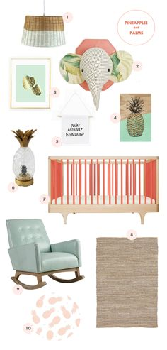 I'm taking the pineapple and palm trends to the nursery, people! Babies  want to be chic too, you know. :)  1. Basket Lamp2. Plush Taxidermy from Kelsey Davis Design3. Palm Print  from InkSpot Workshop 4. Pineapple Print from Olive Twig Studio5. You're  Actually Wonderful banner 6. Pineapple Lamp7. Caravan Crib8. Light Jute  rug9. Mint Rocking Chair10. Pineapple Crib sheet from Pappiyon  Basically this mood board encompasses everything I'm currently loving:  coral and mint with a hint…