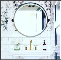 bathroom wallpaper and fixture goals