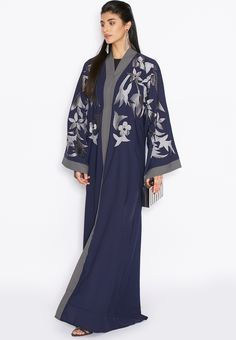 Buy Hayas Closet Navy Embroidered Yoke Abaya for Women in Riyadh, Jeddah, Saudi Abaya Fashion, Muslim Fashion, Modest Fashion, Abaya Pattern, Modern Abaya, Arabic Dress, Abaya Designs, Hijab Fashion Inspiration, Boho Kimono