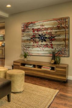 Pallet Wood Decor Crafts. Use floral print from accent pillows or other decor to create matching design scheme