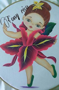 Niña orquidea Embroidery Neck Designs, Embroidery Patterns, Machine Embroidery, Tole Painting, Fabric Painting, Cony Rico Pintura, Birthday Calender, Baby Drawing, Color Magic