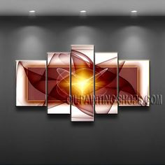 Amazing Modern Abstract Painting Hand Painted Oil Painting Stretched Ready To Hang Abstract. This 5 panels canvas wall art is hand painted by V.Chua, instock - $158. To see more, visit OilPaintingShops.com