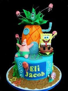 What an adorable Sponge Bob Cake. Decorate your child's name below the Sponge Bob and Patrick with their first and middle (As similarly shown in the picture)