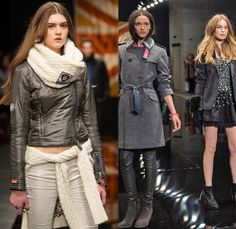 Superdry 2014-2015 Fall Autumn Winter Womens Runway Looks Fashion - London Collections - Denim Jeans Outerwear Trench Coat Chunky Knit Sweater Jumper Multi-Panel Metallic Motorcycle Biker Rider Down Puffer Jacket Cutoffs Shorts Jogging Sweatpants Zippers Skinny Scarf Sporty