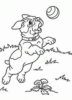 cute puppy playing coloring page for kids animal coloring pages printables free