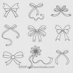 Free Vectors: Vintage vector set of handdrawn bows   Abstract