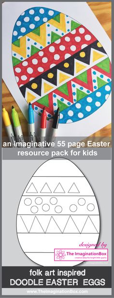 This pages fun Easter themed art and craft resource pack has been designed to encourage students to explore shape, colour, design and pattern in an abs. Easter Arts And Crafts, Easter Projects, Spring Crafts, Projects For Kids, Crafts For Kids, Easter Activities, Art Activities, Easter Coloring Pages, Art Classroom