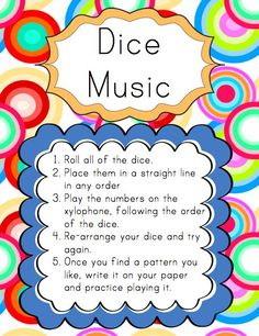 At the dice music center, students roll the dice (they can roll one die, two, three, etc - it doesn't really matter). They check the key o...