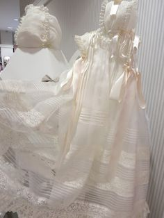 check out the beautiful girls dresses. Baptism Gown Boy, Christening Outfit, Christening Gowns, Blessing Dress, Linens And Lace, Heirloom Sewing, Flower Girl Dresses, Frilly Dresses, Girls Dresses