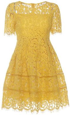 Floral Lace A-Line Dress in Yellow