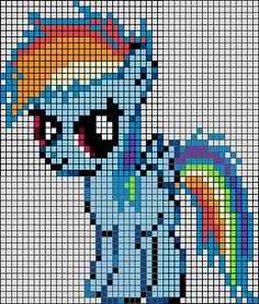 Patron / Pattern : My Little Pony - Rainbow Dash en Perle HAMA (Mini) Taille de la grille 46 x 50 (soit environ 11,5 x 12,5 cm) Nombre de perles totales : 1176 (sans le fond, que le petit poney)