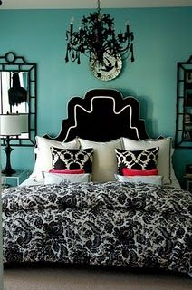 Black and white, teal and pink accents