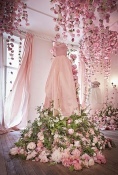 with all white flowers and a white dress for the bridal collection