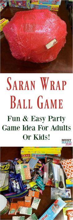 Saran wrap ball game idea! Fun party game idea for kids or adults. How to play and how to make a saran wrap ball.