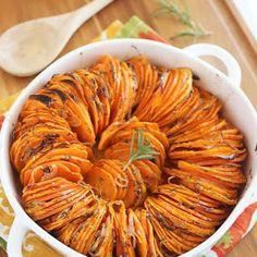 Crispy Roasted Rosemary Sweet Potatoes With Butter, Olive Oil, Dried Rosemary, Sweet Potatoes, Shallots, Kosher Salt, Black Pepper