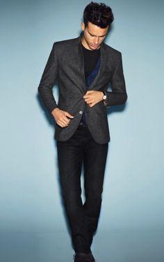 Digel A/W '12 Lookbook, Dark grey blazer worn on all black with a hint of blue, style for men