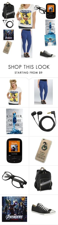 """I Need A Nap"" by chrissy-cdm ❤ liked on Polyvore featuring DC Comics, Torrid, Sennheiser, Sandisk, L.L.Bean and Converse"
