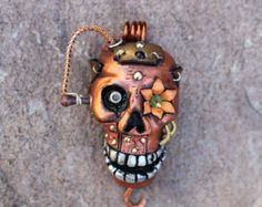 Steampunk Skull Necklace - Polymer Clay Sculpted skull art necklace - made from polymer clay and metal findings
