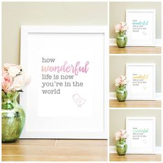 INSTANT DOWNLOAD How Wonderful Life Is Now You're In The World print. Modern nursery decor for baby boys or girls! Great gift idea on Etsy, $7.04 AUD