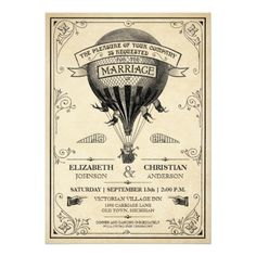Steampunk Wedding Invitations Vintage Hot Air Balloon Wedding Invitation