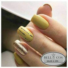 Nail Arts Fashion Designs Colors and Style Ongles Bling Bling, Bling Nail Art, Bling Nails, Gel Acrylic Nails, Shellac Nails, Nail Manicure, Yellow Nails Design, Yellow Nail Art, Nail Art Designs