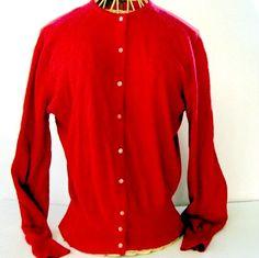 Vintage Cashmere Sweater Cardigan Lipstick by nanascottagehouse, $69.99