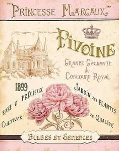 French perfume label with castle roses and crown postal princese margaux perfume postal rosas